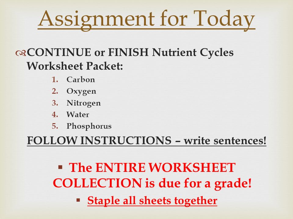 Unit 4 Ecology Vocab Remember to do a Vocab Menu Option ppt – Nutrient Cycle Worksheet