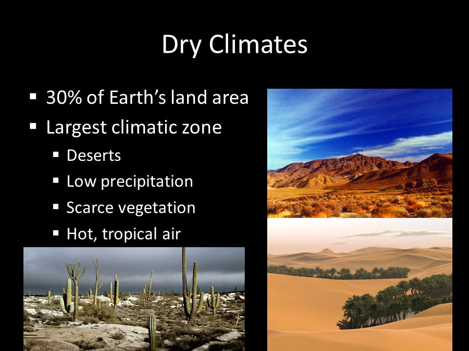 Dry Climates 30% of Earth's land area Largest climatic zone Deserts