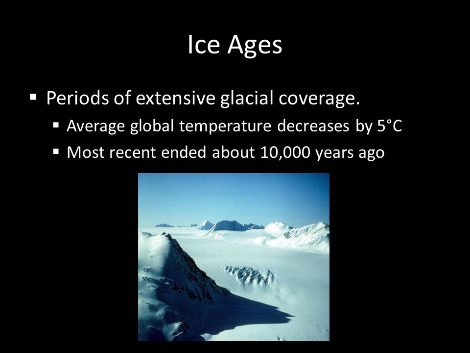 Ice Ages Periods of extensive glacial coverage.