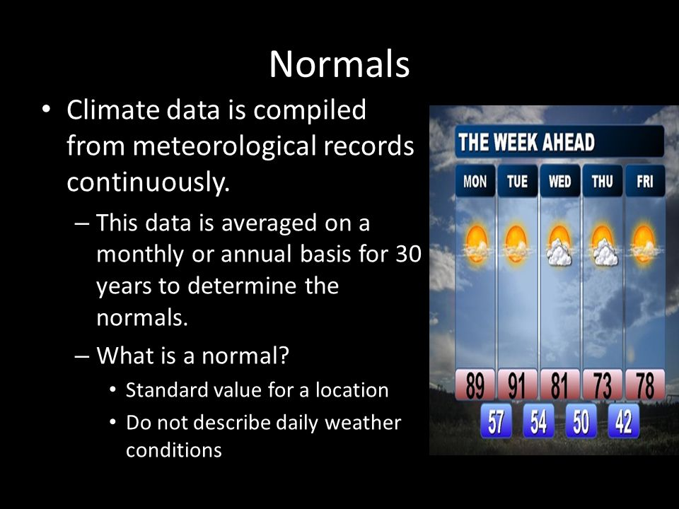 Normals Climate data is compiled from meteorological records continuously.