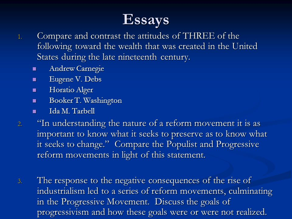 era essay progressive The popular and enduring melting pot method dictated that all cultures and traditions would be absorbed into the american culture in order to create a uniquel.