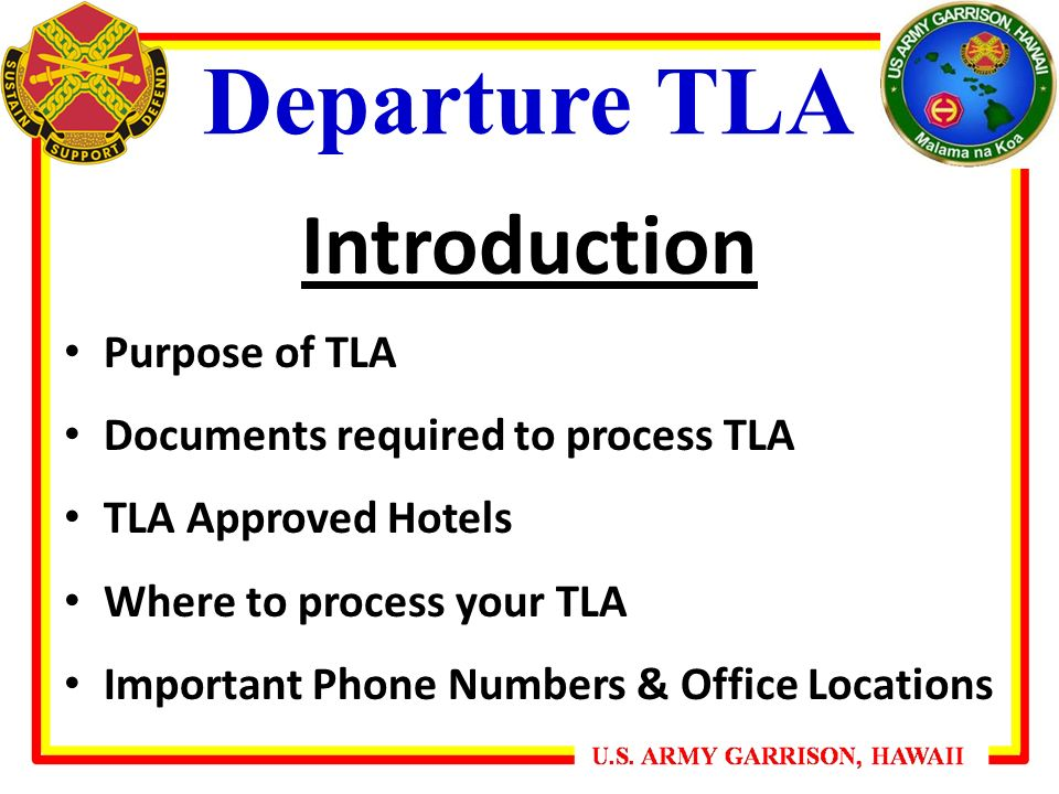 Departure Tla Introduction Purpose Of