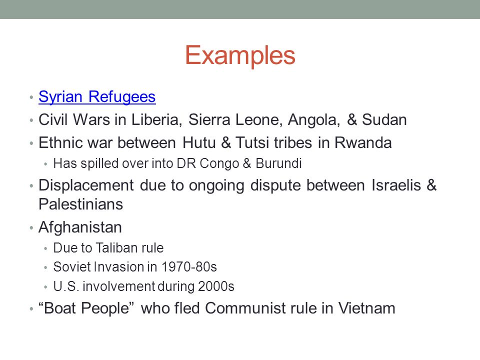 Examples Syrian Refugees