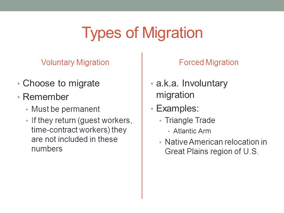 Types of Migration Choose to migrate Remember