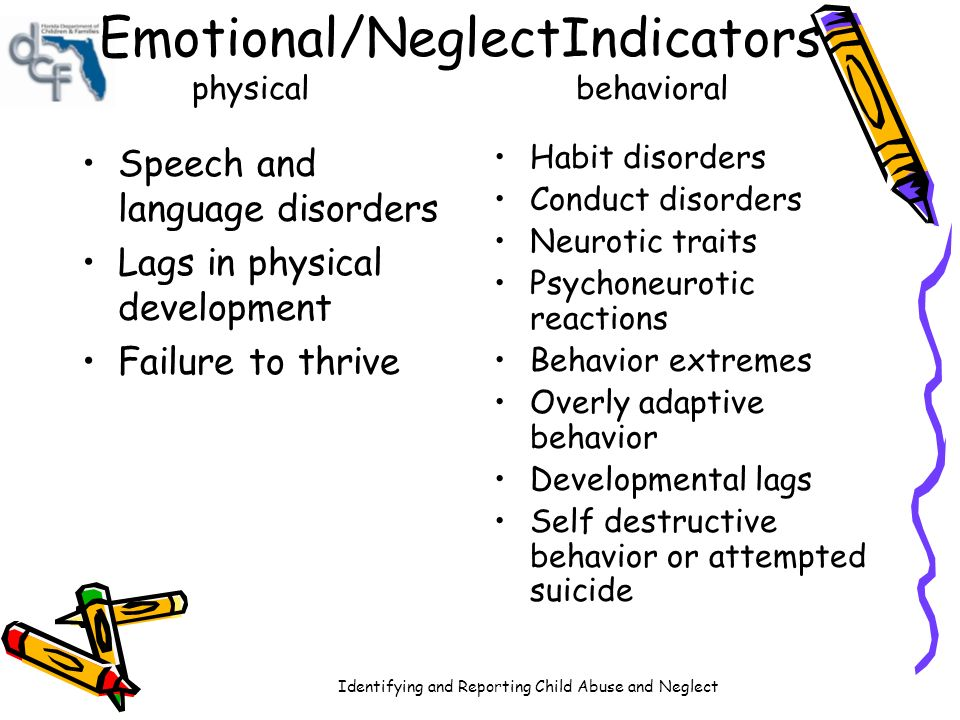 child abuse and speech disorders 1 child abuse negl 19826(3):299-305 the effects of child maltreatment on language development allen re, oliver jm the separate effects of child neglect, abuse, and their interaction upon language development as measured by the preschool language scale were examined in four groups of children (n = 79) in a quasi-experimental design.