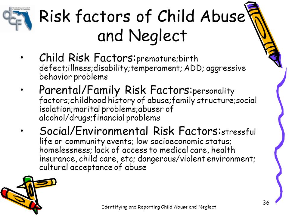 factors leading to child abuse Increased effort to reduce risk factors leading to child maltreatment, preventive services  child abuse fact sheet author: robert nash parker created date.