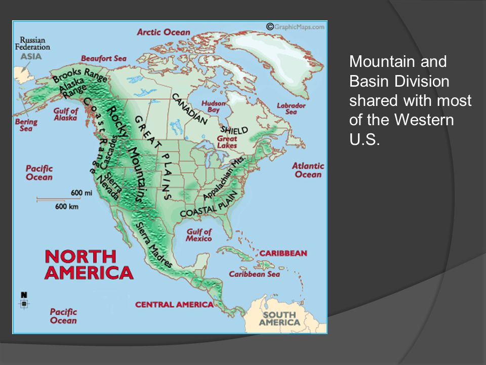 Mountain and Basin Division shared with most of the Western U.S.