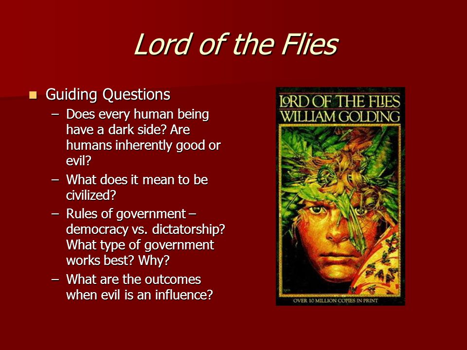 """the inherently good and bad characters in lord of the flies a novel by william golding Golding's modern fable """"lord of the flies""""  to write the great novel, lord of the flies  century was a good source for golding's book, 'lord of the."""