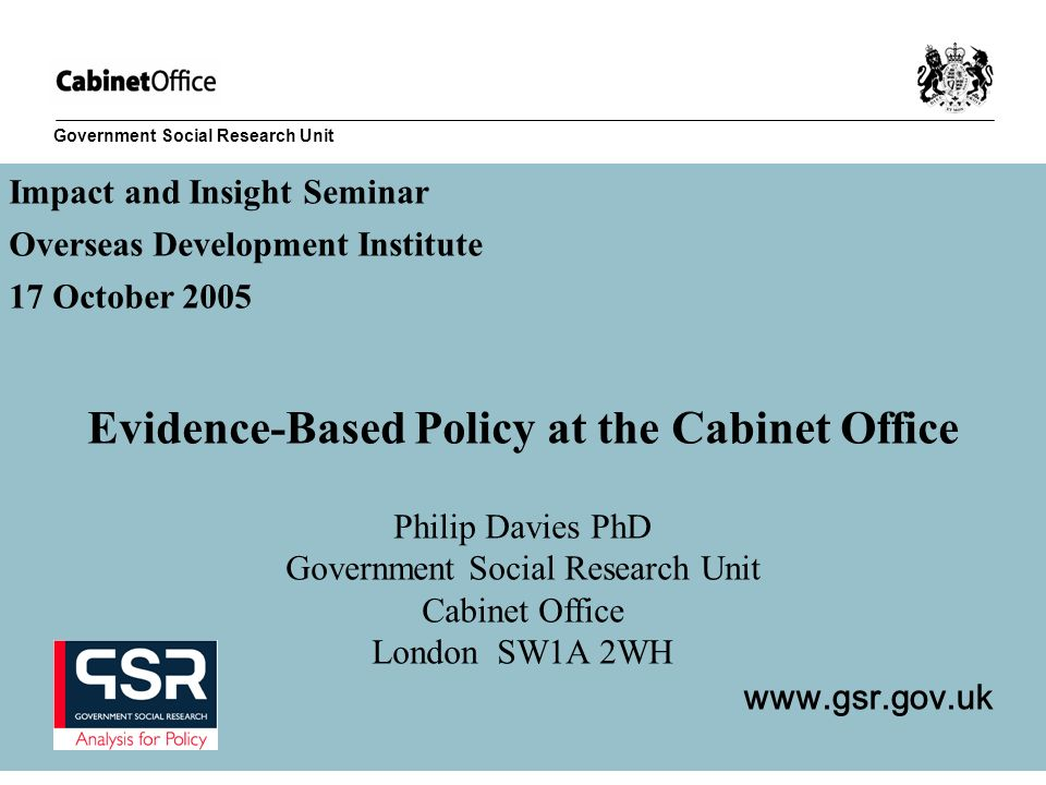 Evidence-Based Policy at the Cabinet Office