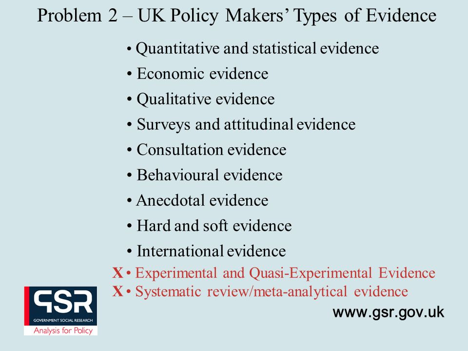 Problem 2 – UK Policy Makers' Types of Evidence