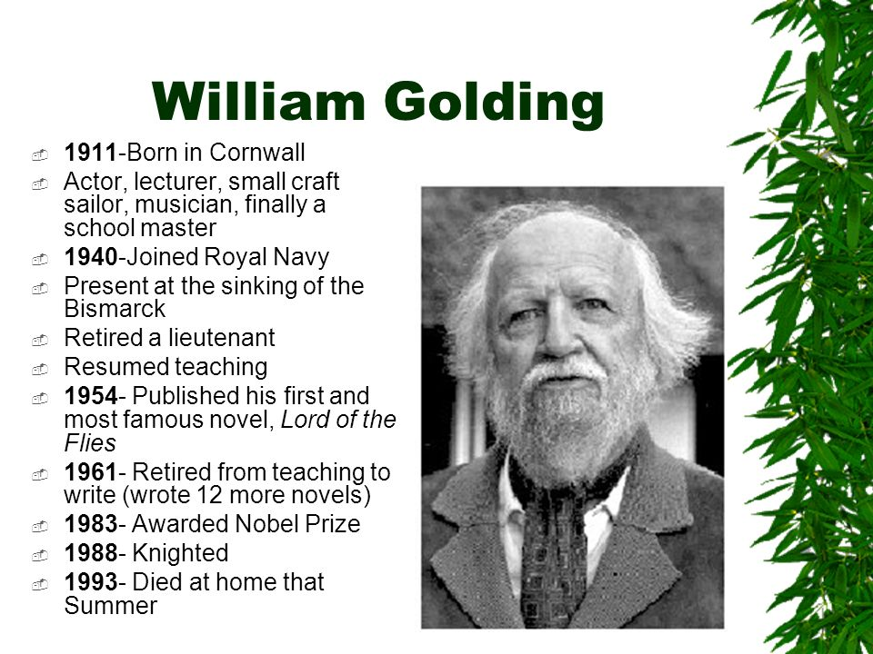 william golding stated in a radio Npr coverage of lord of the flies by william golding news, author interviews, critics' picks and more.