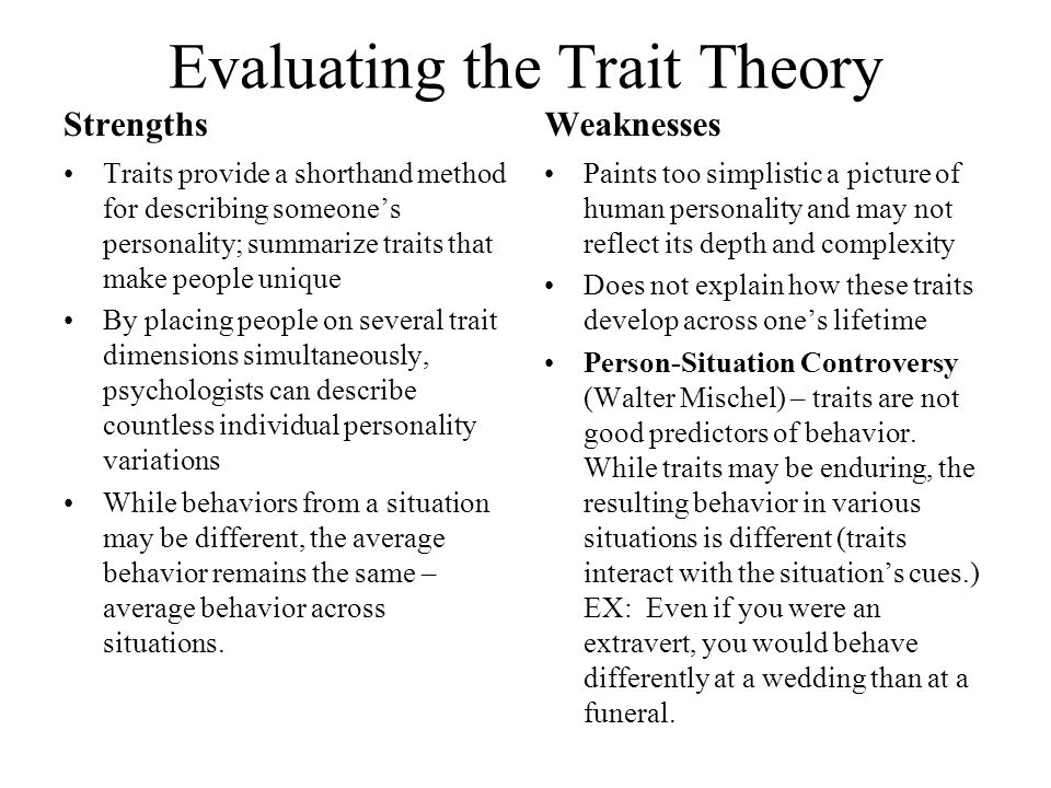 dispositional trait approach to personality strengths and weaknesses Kelly's (1955, cited in butt, 2007 stevens, 2002) personal construct theory and eysenck and rathman's (1965, cited in butt, 2007) trait theory of personality will be outlined and then trait theory will be used to critique, and find the strengths and weaknesses of, personal construct theory to see how it contributes to our understanding of .