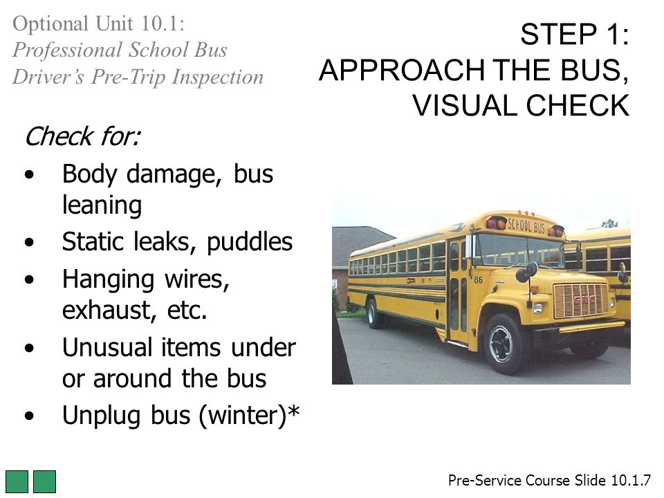 school bus pre trip inspection under the
