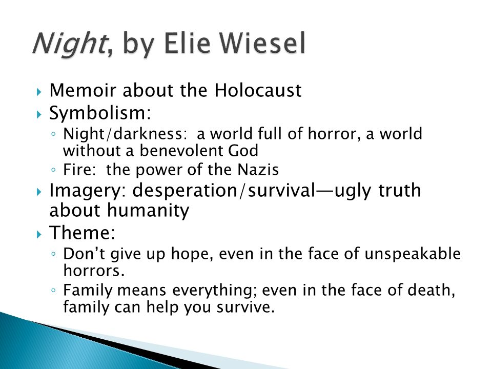 a literary analysis of the holocaust in night by wiesel Complete your review with the night literary analysis chapter exam symbols & symbolism in night by elie wiesel 'night,' an account of the holocaust by elie.