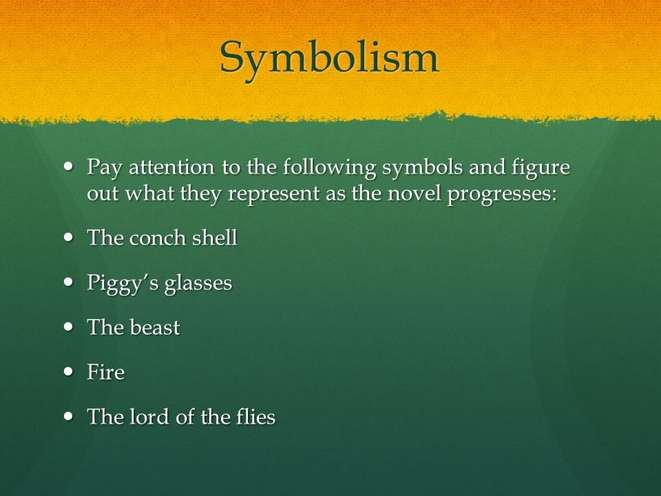 the symbolism of the beast in lord of the flies a novel by william golding William golding's novel, the lord of the flies  religious persecution in lord of the flies  children recognized him as the symbol for their sin – the beast.