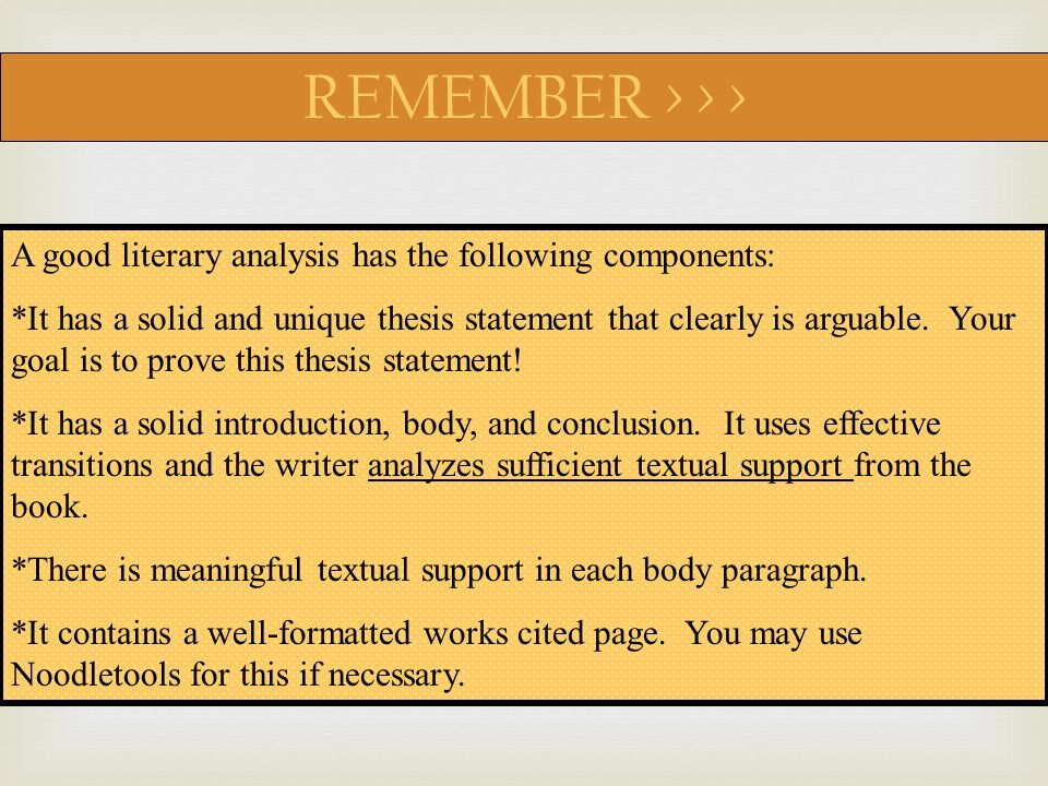 components of a literary analysis essay