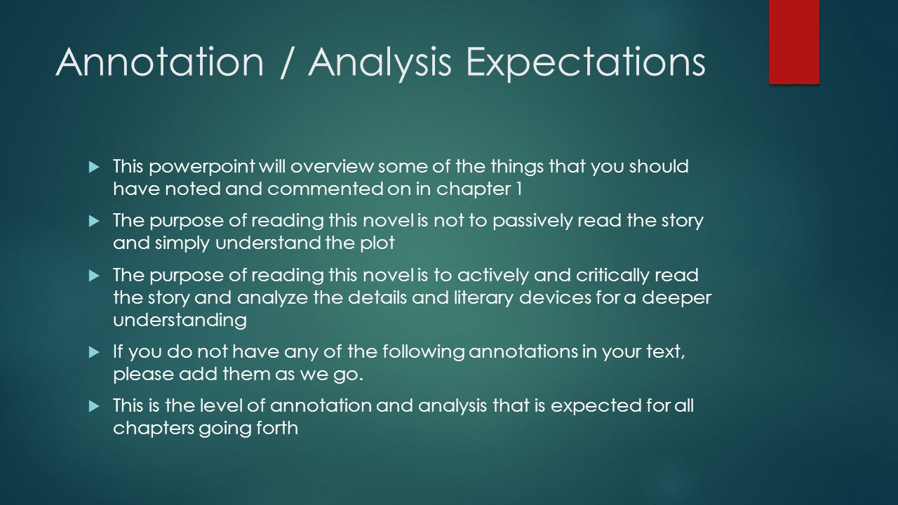 Annotation / Analysis Expectations