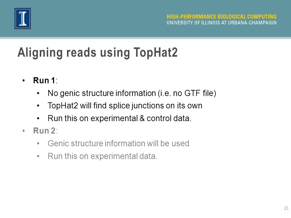 Aligning reads using TopHat2