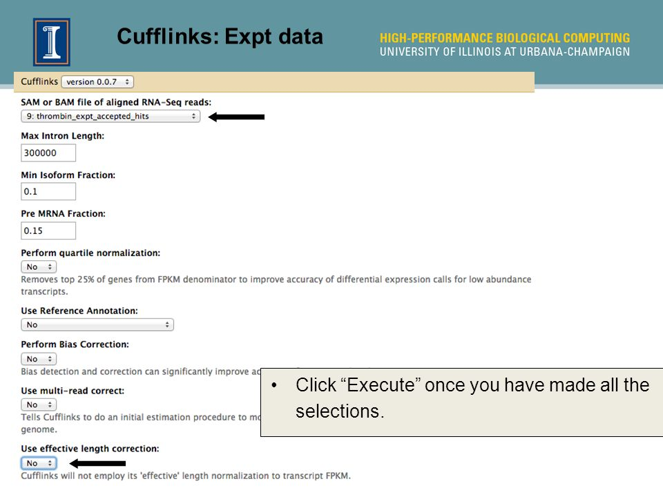 Cufflinks: Expt data Click Execute once you have made all the selections.
