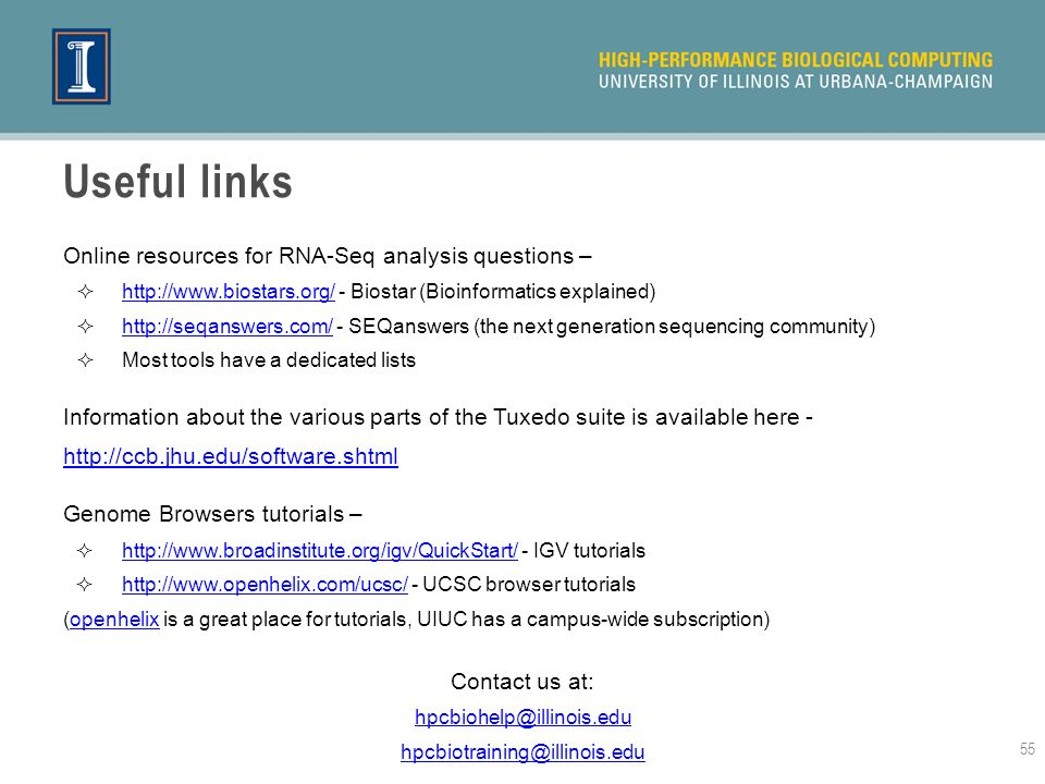 Useful links Online resources for RNA-Seq analysis questions –