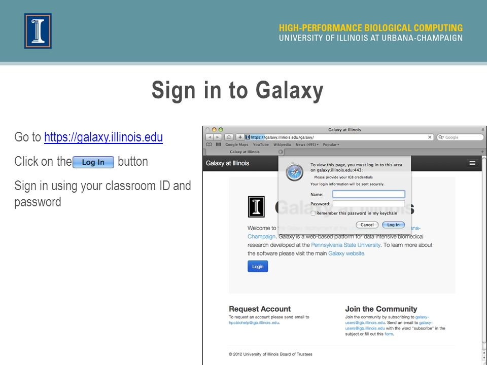 Sign in to Galaxy Go to   Click on the button Sign in using your classroom ID and password