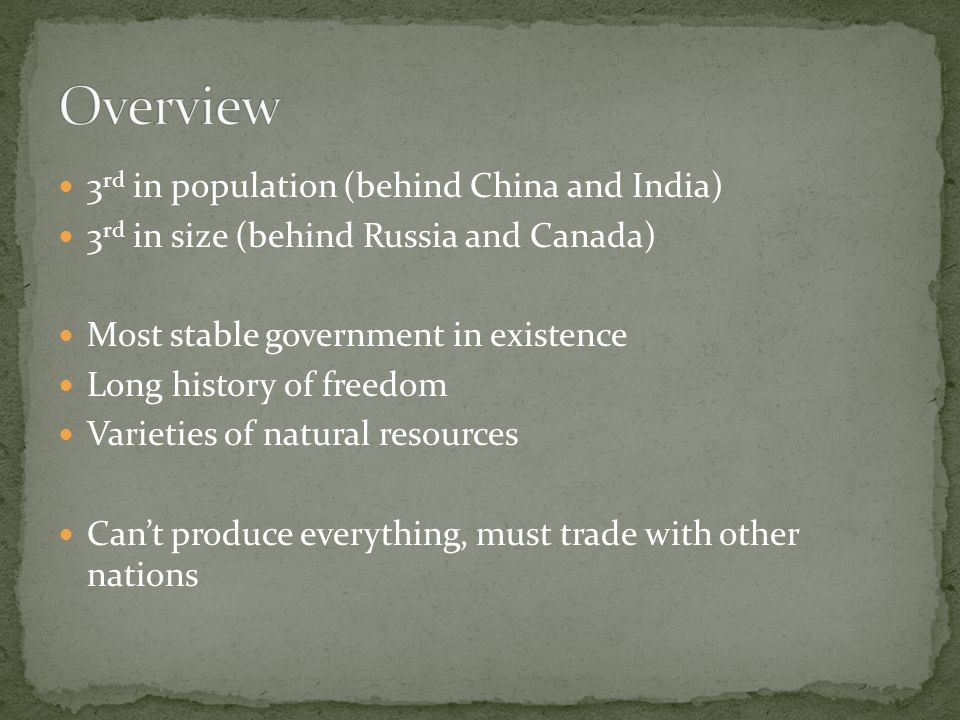 an overview of the rich natural resources of the united states The current uspolicy of promoting economic freedom and political  in africa to  adopt policy changes that would ensure that wealth from natural resources will.