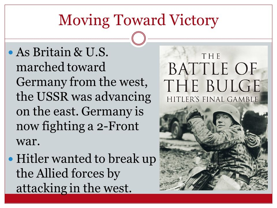 Moving Toward Victory