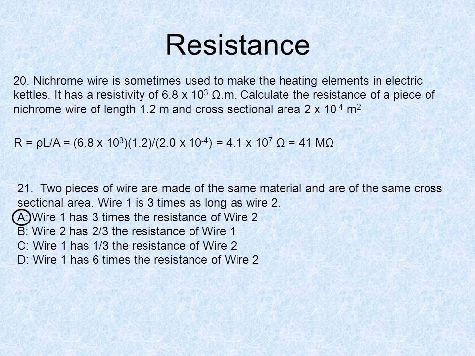 determining the resistance of nichrome using an equation