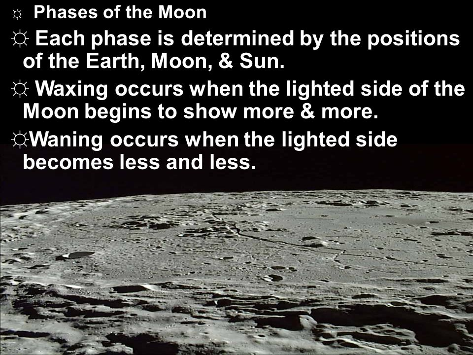 Each phase is determined by the positions of the Earth, Moon, & Sun.