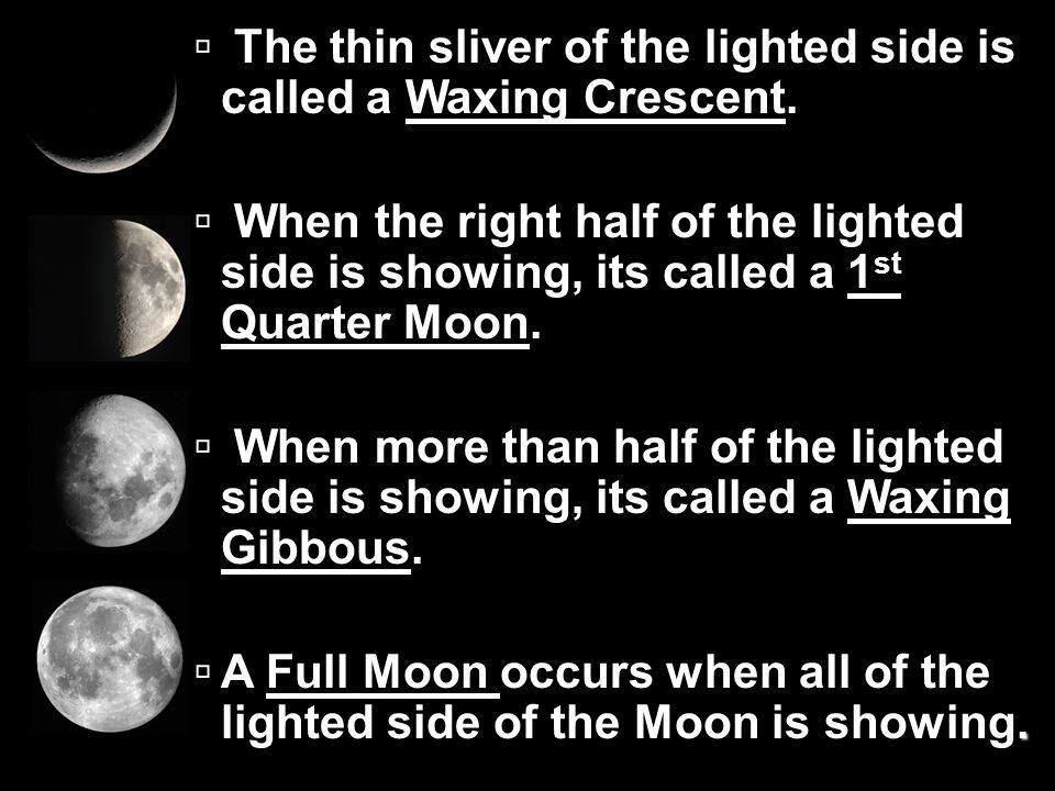 The thin sliver of the lighted side is called a Waxing Crescent.