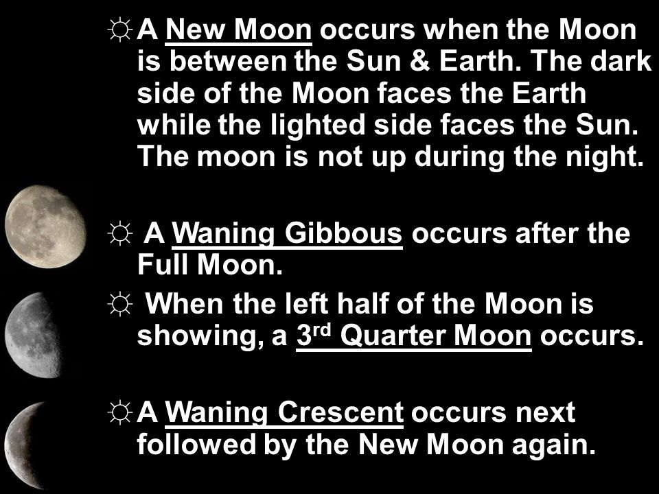 A New Moon occurs when the Moon is between the Sun & Earth