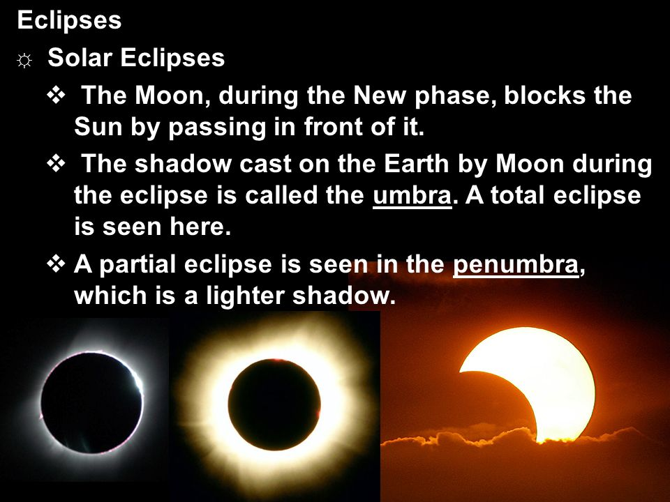 Eclipses Solar Eclipses. The Moon, during the New phase, blocks the Sun by passing in front of it.