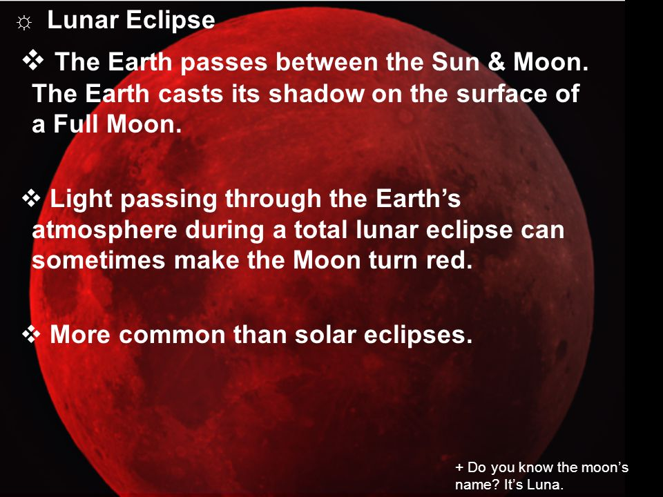 Lunar Eclipse The Earth passes between the Sun & Moon. The Earth casts its shadow on the surface of a Full Moon.