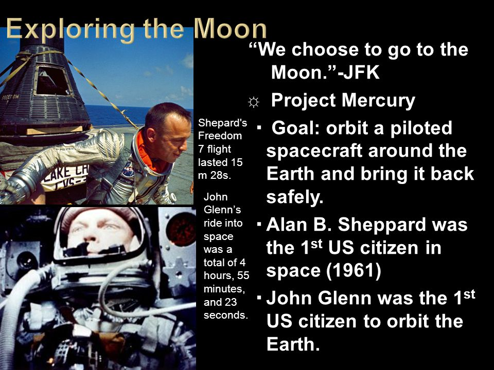Exploring the Moon We choose to go to the Moon. -JFK Project Mercury