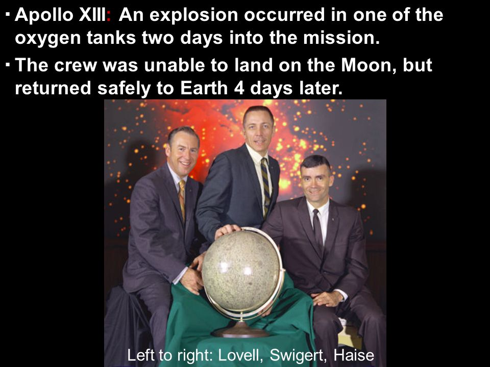 Apollo XIII: An explosion occurred in one of the oxygen tanks two days into the mission.