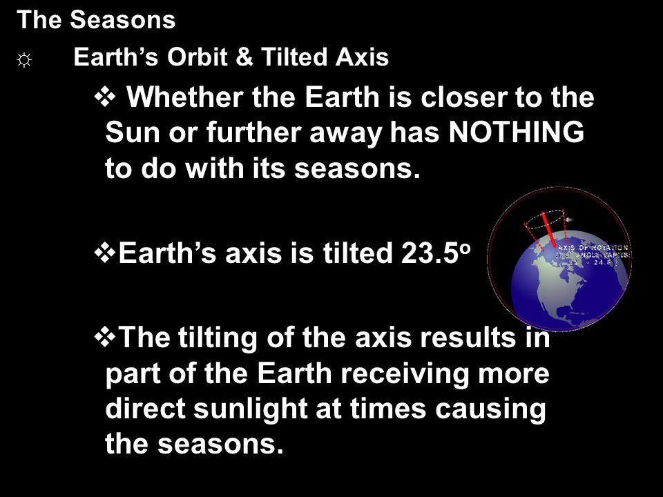 Earth's axis is tilted 23.5o