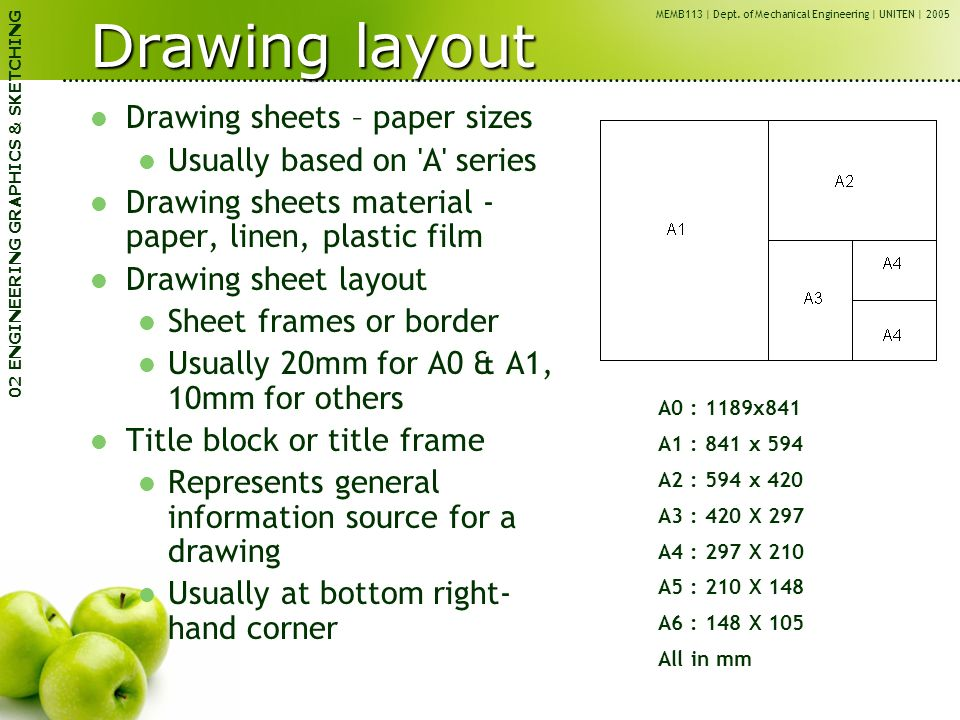 Memb113 engineering graphics cae ppt video online download for Blueprint paper size