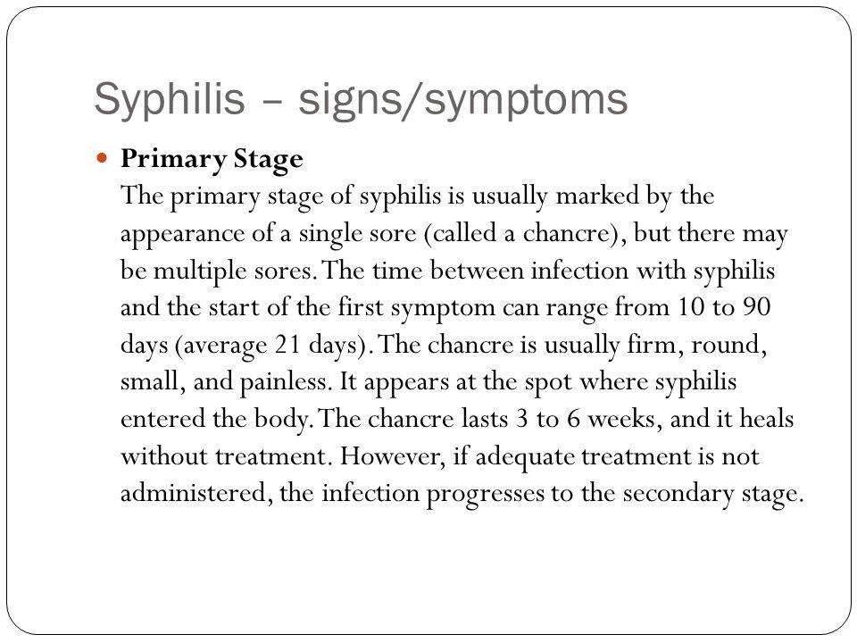 Syphilis – signs/symptoms