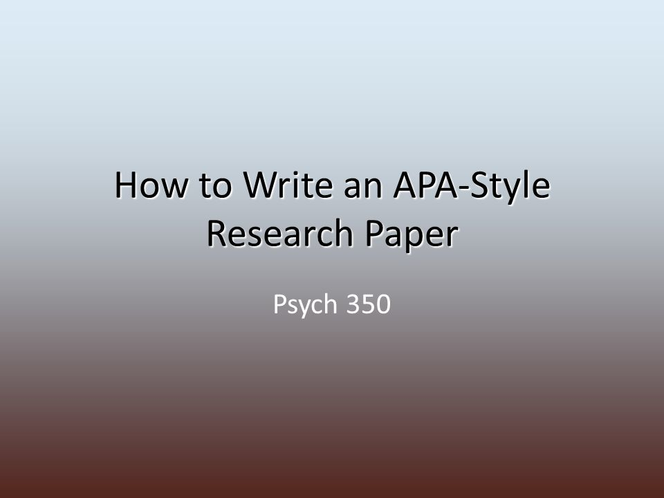how to write an apa style research paper This sample paper is an example of a one-experiment paper that demonstrates apa style elements sample two-experiment paper (pdf) this abridged manuscript illustrates the organizational structure characteristic of multiple-experiment papers written in apa style.