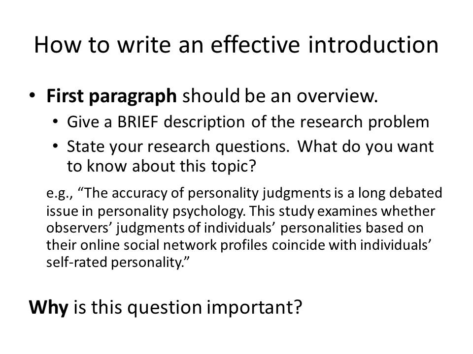 How to write a great research paper introduction