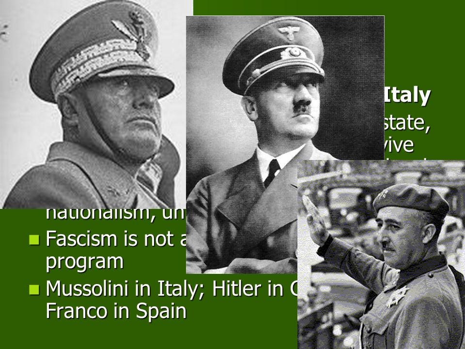 CAUSES IN EUROPE Rise of Fascism in Germany and Italy