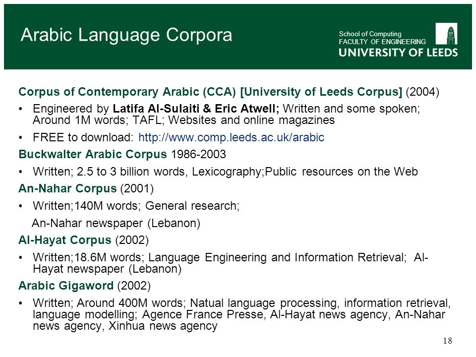 Arabic Language Corpora