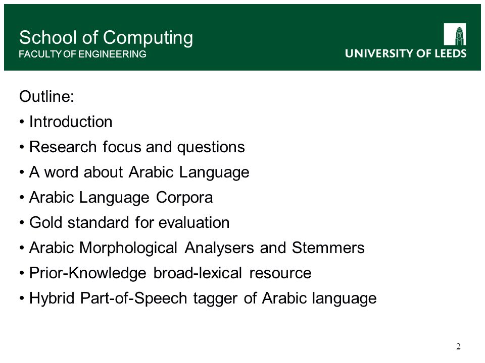 School of Computing Outline: Introduction Research focus and questions