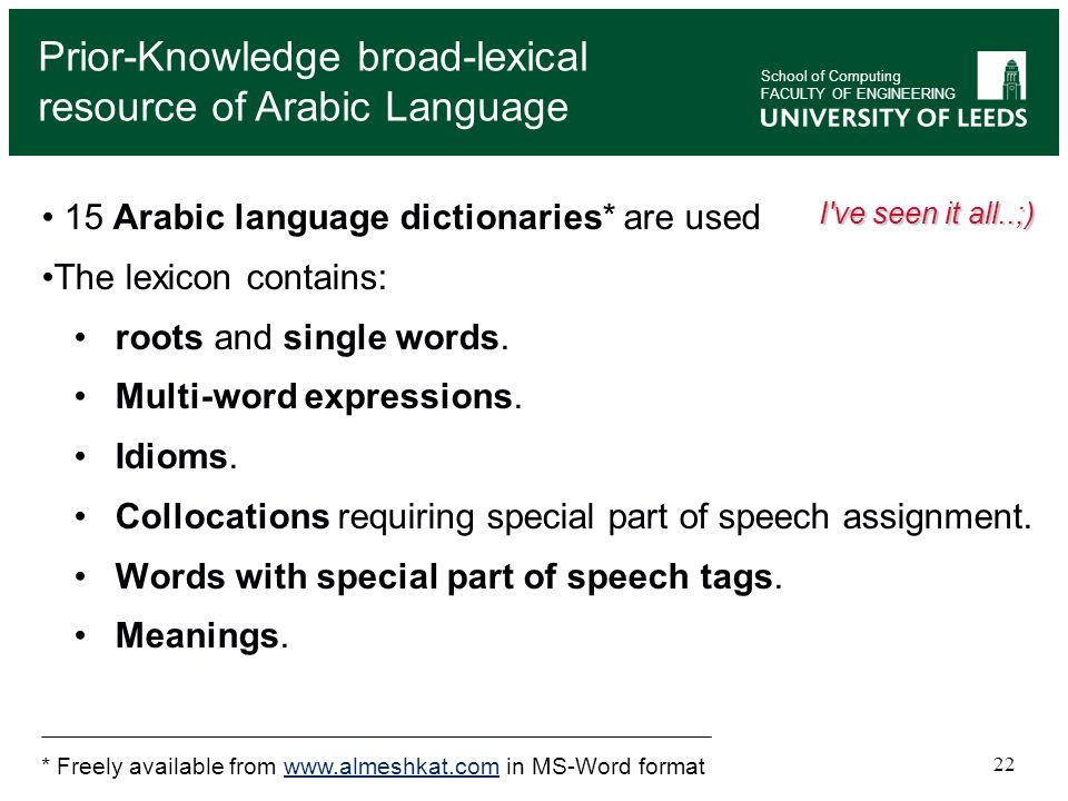 Prior-Knowledge broad-lexical resource of Arabic Language