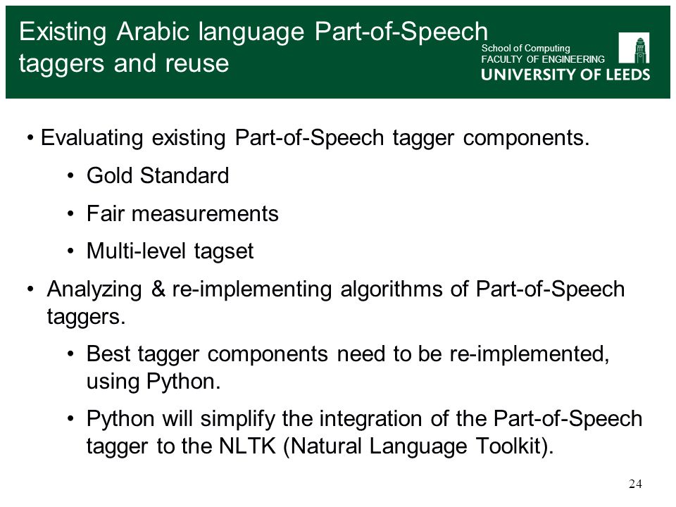 Existing Arabic language Part-of-Speech taggers and reuse