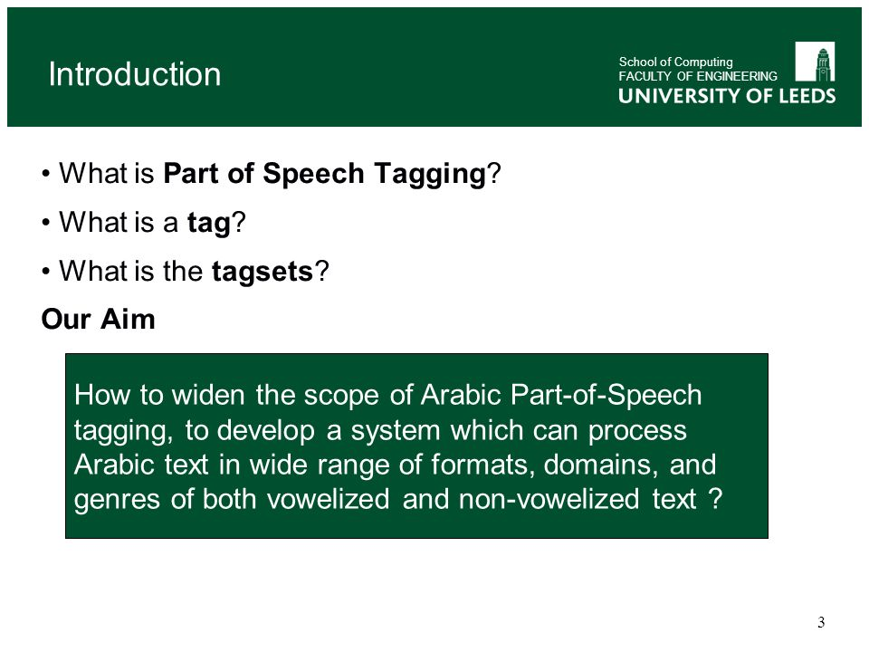 Introduction What is Part of Speech Tagging What is a tag