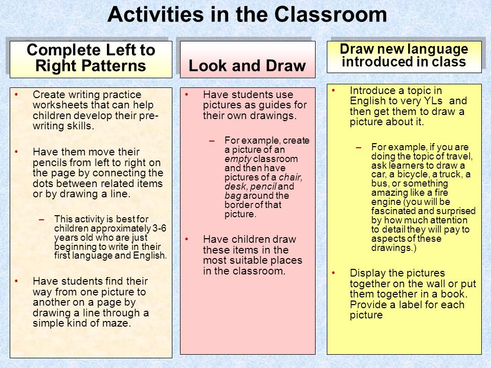 writing activities for the classroom