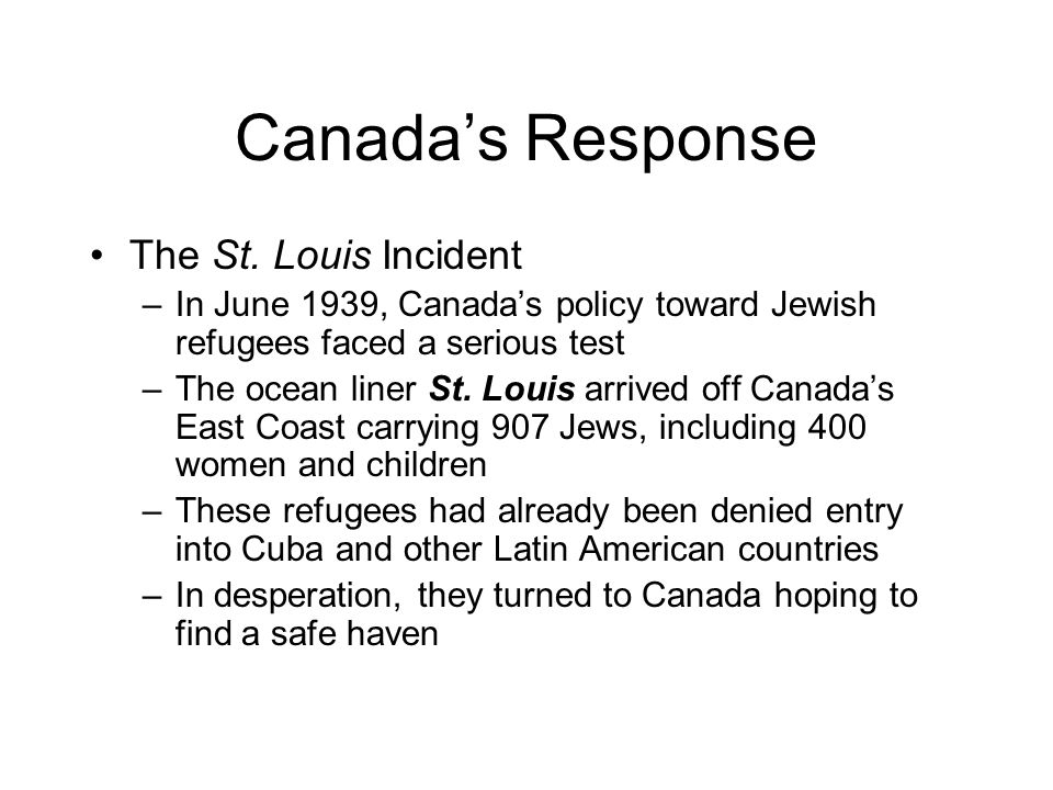 Canada's Response The St. Louis Incident