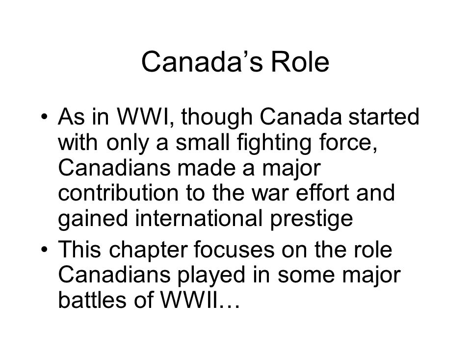 Canada's Role