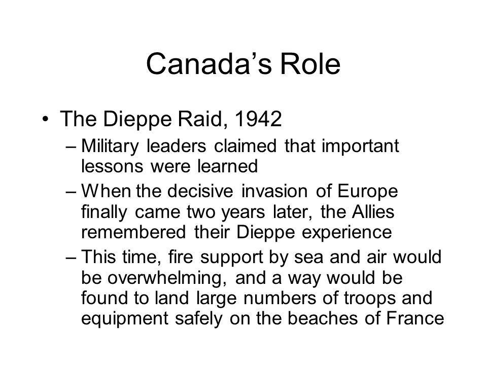 Canada's Role The Dieppe Raid, 1942